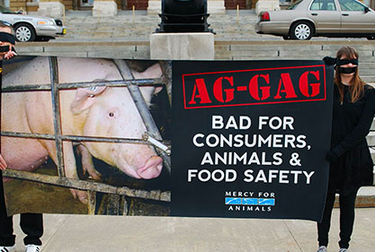 Protestors with tape on their mouths hold up a sign saying ag-gag is bad for consumers, animals and food safety.